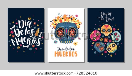 Dia de los muertos mexican day stock vector 728524810 shutterstock dia de los muertos mexican day of the dead set of greeting cards with m4hsunfo