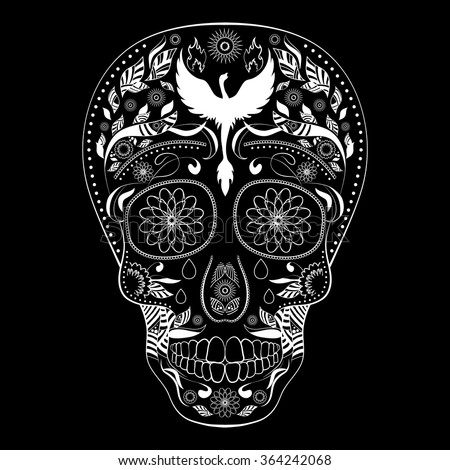 Dia de Muertos FULL inverse. Illustration of traditional Mexican skull with lots of ornaments and Phoenix to the Day of The Dead. Black white colors. contour. Vector Illustration - stock vector