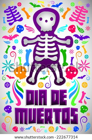 Dia de Muertos - Mexican Day of the death spanish text colorful candy vector decoration  - stock vector