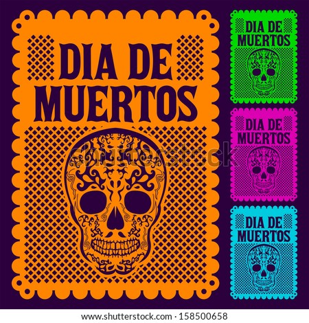 Dia de Muertos - Mexican Day of the death spanish text decoration set - stock vector