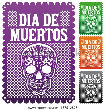 Dia de Muertos - Mexican Day of the death spanish text vector decoration set - stock vector