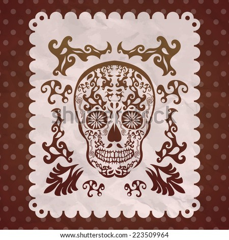 Dia de Muertos - Mexican Day of the death spanish text vintage decoration  - stock vector