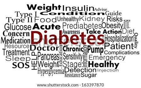 Diabetes awareness and cause concept with word collage - stock vector