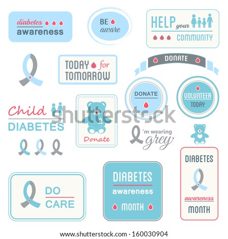 Diabetes Awareness Banners and Ribbons. Health Concept - stock vector