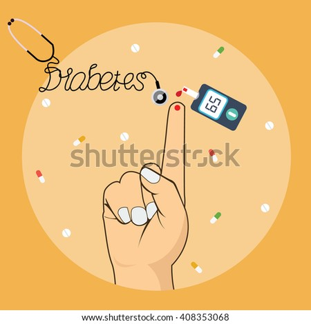 diabetes blood test measure sugar glucose level with tools glucometer  - stock vector