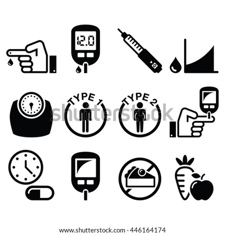 Diabetes disease, health icons set  - stock vector