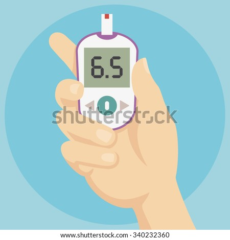 Diabetes Treatment - Hand holding Blood Glucose Meter - Flat Icon - stock vector