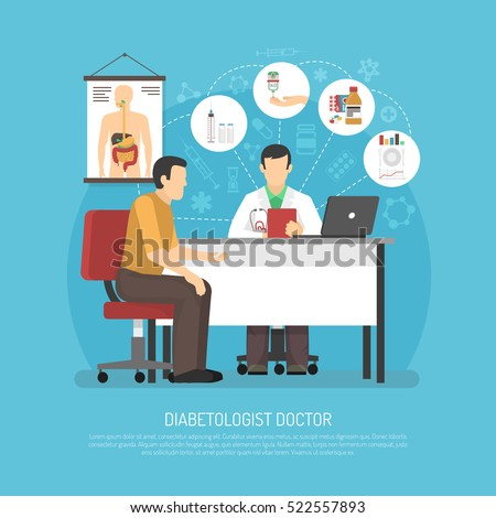 Diabetes treatment vector illustration with patient in doctors office on reception at endocrinologist flat vector illustration