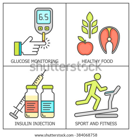 Diabetes vector background.  Diabetic therapy line style icons set. Blood glucose test.