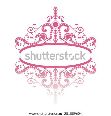 diadem. elegance feminine tiara with reflection. in pink colour isolated on white background. - stock vector