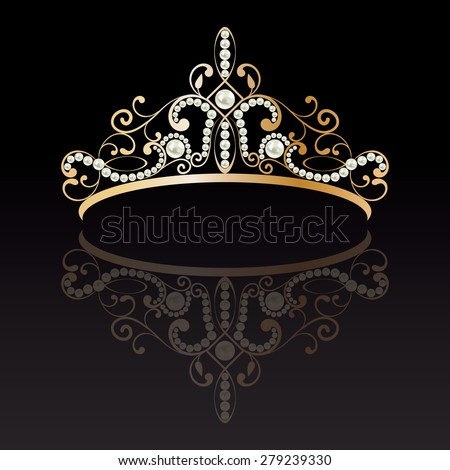 diadem. luxury gold with pearls feminine tiara. with reflection on black lighted background. vector illustration - stock vector