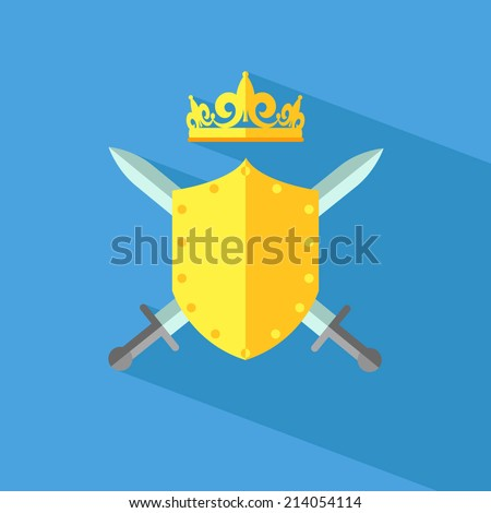 Diadem vector illustration with shield, swords and crown.  - stock vector