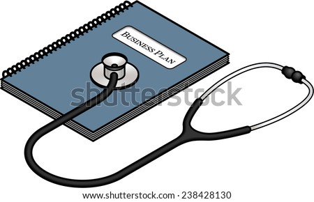 Diagnosis and analysis concept: business plan. - stock vector
