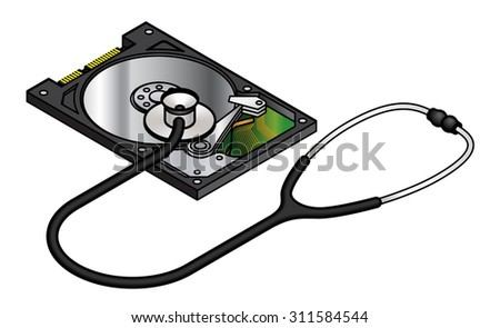 Diagnosis and analysis concept: hard disk data analysis and recovery. Hard disk shown with top cover removed.