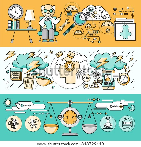 Diagnosis of brain psychology flat design. Psychiatry therapy, disorder and meditation, emotion stress, human mind health, intellect and medicine, mental and neurology. Set of thin, lines icons - stock vector