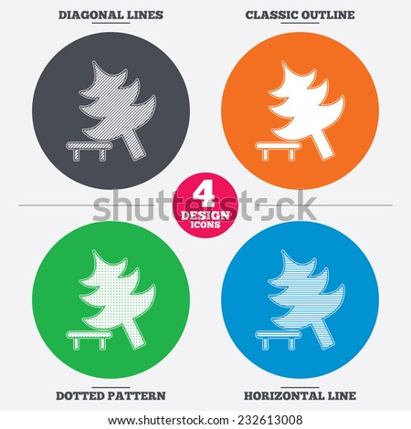 Diagonal and horizontal lines, classic outline, dotted texture. Falling tree sign icon. Caution break down christmas tree symbol. Pattern circles. Vector - stock vector