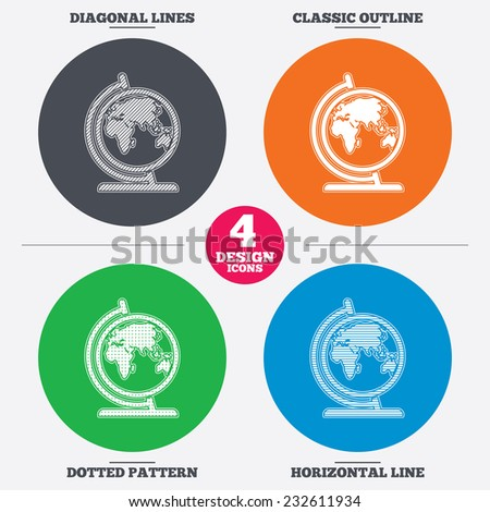 Diagonal and horizontal lines, classic outline, dotted texture. Globe sign icon. World map geography symbol. Globe on stand for studying. Pattern circles. Vector - stock vector