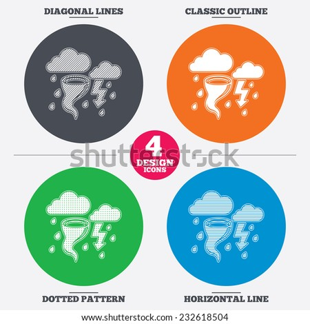 Diagonal and horizontal lines, classic outline, dotted texture. Storm bad weather sign icon. Clouds with thunderstorm. Gale hurricane symbol. Destruction and disaster from wind. Vector - stock vector