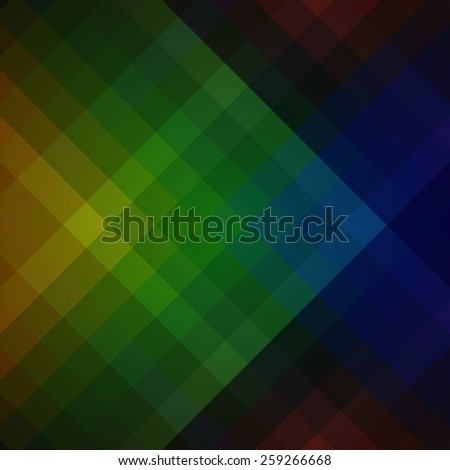 Diagonal gradient vector background. Multicolored squares of different colors. Dark backdrop for text or abstract objects. - stock vector