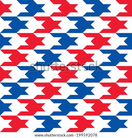 Diagonal Patriotic Houndstooth Pattern in red, white and blue repeats seamlessly. Colors are grouped for easy editing. - stock vector