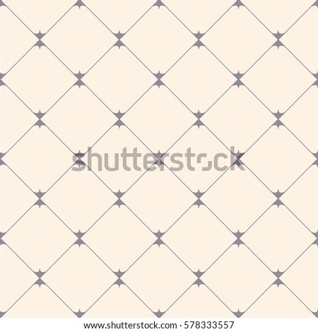 Diagonal rectangle seamless pattern. Square rhombus lines. Stylish grid, cell texture. Gray, cream soft colored background. Vector