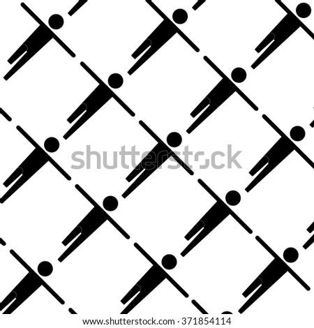 Diagonal Spread Hands Stick Man icon set - stock vector