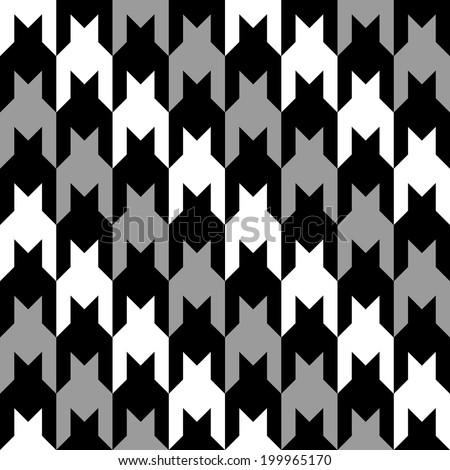 Diagonal striped houndstooth pattern in grey, black and white. - stock vector