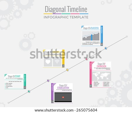 Diagonal Timeline Infographics in Flat Style