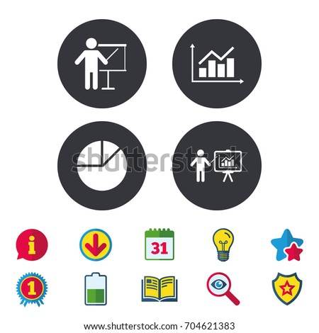 Diagram graph pie chart icon presentation stock vector 704621383 diagram graph pie chart icon presentation billboard symbol supply and demand man standing ccuart Images