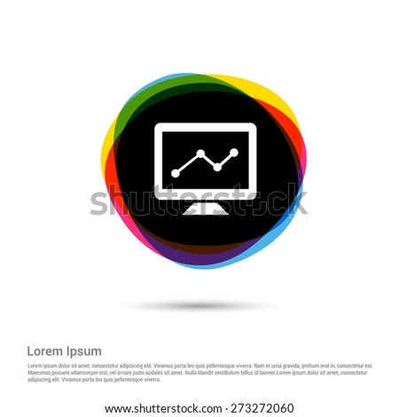 diagram icon , computer graphs icon, White pictogram icon creative circle Multicolor background. Vector illustration. Flat icon design style - stock vector