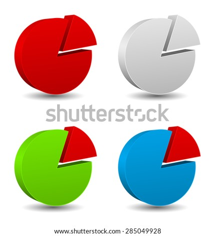 diagram icon 3d  with different colors - stock vector