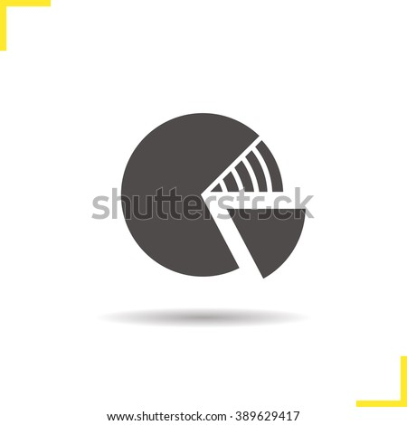 Diagram icon. Drop shadow segment graph silhouette symbol. Financial business graph model. Segmented circle percentage diagram logo concept. Vector isolated illustration