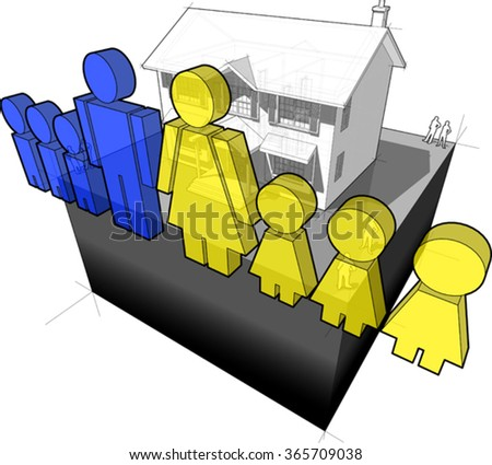 diagram of a classic colonial house and family sign composed of man and wife and six children - stock vector