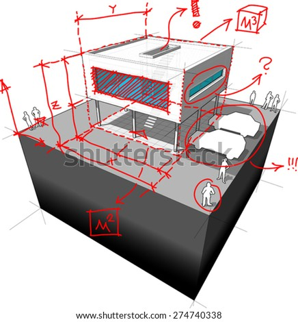 diagram of a   modern house redesign with hand drawn architect's notes, marks and annotations over it - stock vector