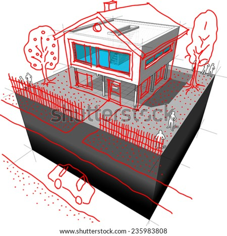 diagram of a possible modern house redesign and creating a pseudo-romantic detached house out of modern architecture - stock vector