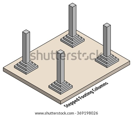 diagram set columns on stepped footings stock vector. Black Bedroom Furniture Sets. Home Design Ideas