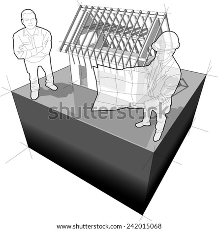 diagram of a simple detached house under construction and architect + happy smiling man standing in front of it  - stock vector