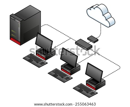 stock vector diagram of a simple wired network with a broadband modem gateway a network switch hub and 255063463 diagram simple wired network broadband modem stock vector wired home network diagram at gsmx.co