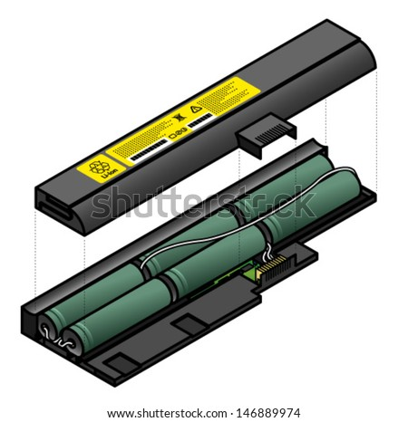 Diagram showing the inside components of a laptop battery. - stock vector