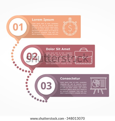 diagram with three steps with numbers and line icons, flat design, vector eps10 illustration - stock vector