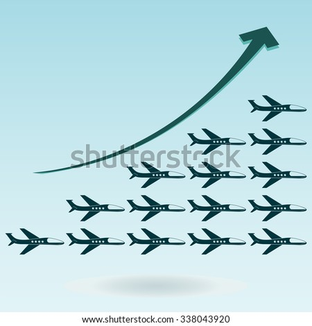 Diagramma growth in the production of airplanes, travel and airline passengers. - stock vector