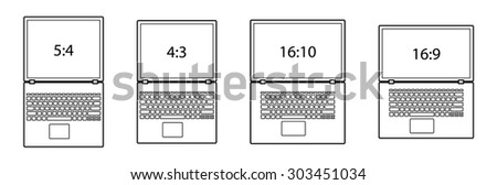 Diagrams comparing differences between different screen aspect ratios. Laptop/notebook computers. - stock vector