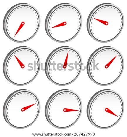 Dial faces with pointer isolated on white. Measure, gauge, indication concepts. Editable vector. - stock vector