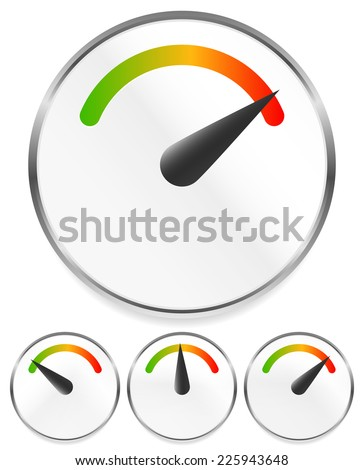 Dial, gauge templates. Measuring, indication, benchmarking element - stock vector