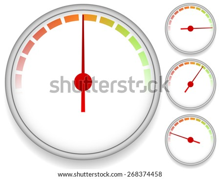Dial Meter Templates with Fading Units. Set at 4 Stages. Vector - stock vector