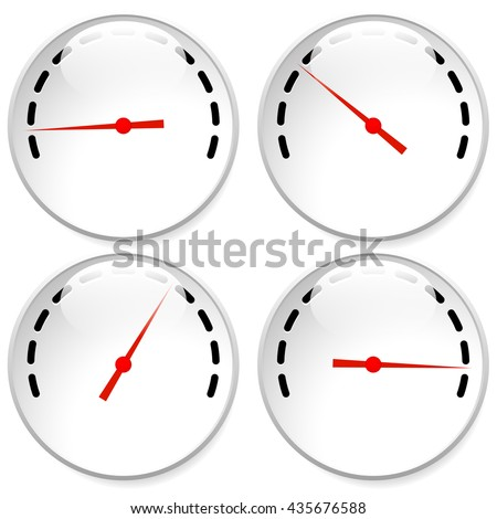 Dial, meter templates with red need and units set at 4 stages, levels. Generic indicator, measurement icons without text. Progression, low-high, acceleration concepts. - stock vector