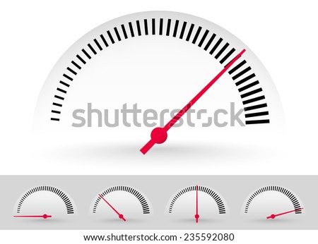 Dial, meter templates with red needle at 5 stages. Measurement, acceleration or generic level indicator. (eps 10 vector with transparency) - stock vector