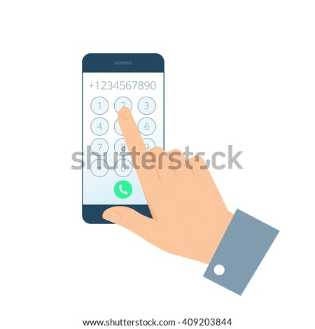 Dial number concept. Flat illustration of smartphone and hand. Businessman touching buttons with numbers on the mobile phone screen to make a phone call. Vector infographic element for web, print. - stock vector