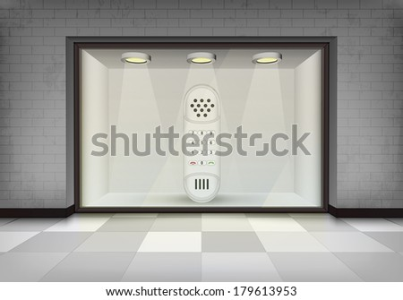 dial telephone in illuminated storefront vitrine vector concept illustration