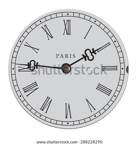 Dial the old clock from Paris - stock vector